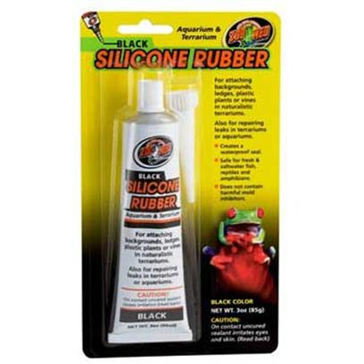 Zoo Med Laboratories Presents Black Silicone Rubber Dealant 3oz Tube. For Attaching Backgrounds, Ledges, Plastic Plants or Vines in Naturalistic Terrariums. Also for Repairing Leaks in Terrariums or Aquariums [36915]