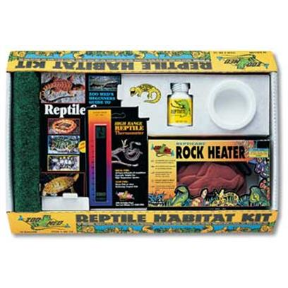 Zoo Med Laboratories Presents Zoo Medium (Med) Reptile Starter Kit 10gallon. Keep your Reptile in Style! The Zoo Med Reptile Habitat Kit is an Amazingly Complete Starter Kit, Perfect for your New Reptile. This KitS Got your Reptile Covered, because it Includes all the Elements Necessary to Creating a Healthy and Happy Environment, Including Repti Cage Carpet, Beginners Guide to Reptile Care Book, Reptivite, High Range Reptile Thermometer, Food/Water Bowl and a Repticare Rock Heater. Start your Reptile out Right, with the Zoo Med Reptile Habitat Kit. [36919]