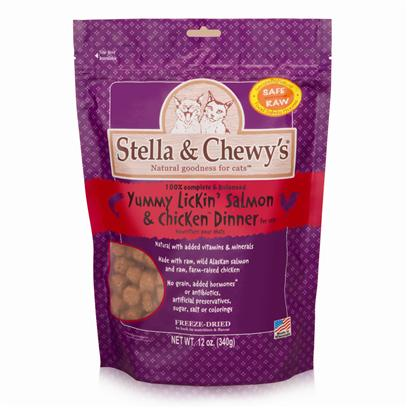 Stella &amp; Chewy's Presents Stella &amp; Chewy's Freeze Dried Yummy Lickin' Salmon Chicken for Cat 12oz Bag. Stella and Chewy's is Dedicated to the Simple Idea that Dogs and Cats should be Healthy and Happy Every Day of their Lives. The Freeze Dried Meals are Packed Uncooked and Made from Pure, Simple and Minimally Processed Ingredients to Provide your Pet with Food as Nature Intended! All Meals are Prepared in House by Stella and Chewy'ssecurebynature Food Safety Process to Protect Naturally Against Harmful Bacteria while Maintaining Food Integrity and Taste. Available in Great Flavors for your Dog Like Beef, Chicken, Lamb, Duck and Fish and Great Flavors for your Cat Like Salmon and Chicken, Each Meal is Made from Raw, Naturally Raised Meat, Chicken and Fish from Reputable Usda-Inspected Sources and Organic Vegetables. There are no Added Fillers or Grains and there is no Cooking Process to Leech Away Nutrients, only Natural Taste and Necessary Vitamins and Minerals. The Raw Diet Improves Appetite and Digestion, Stamina and Vitality, Improves the Immune System and Helps your Pet Maintain and Healthier Coat and Skin. Help Keep your Pet Healthy and Happy with Stella and Chewy's Freeze Dried Meals. Primary Protein Source Salmon Primary Carb Source Salmon Analysis Crude Protein Min 45.0% Crude Fat Min 25.0% Crude Fiber Max 1.0% Moisture Max 5.0% Taurine Min 0.15% Calorie Content (me Calculated); 4,890 Kcal/Kg; 140 Kcal/Oz Formulated to Meet the Nutritional Levels Established by the Aafco Cat Food Nutrient Profiles for all Life Stages. [36984]