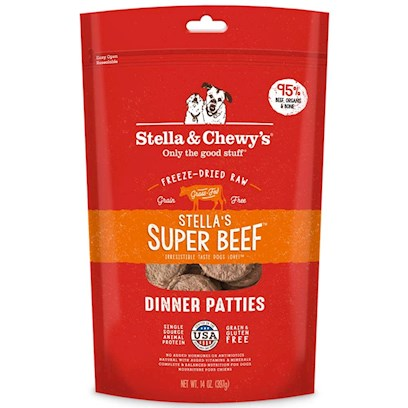 Stella &amp; Chewy's Presents Stella's Super Beef Freeze Dried Dinner Dog 16oz Bag. Stella and Chewy's is Dedicated to the Simple Idea that Dogs and Cats should be Healthy and Happy Every Day of their Lives. The Freeze Dried Meals are Packed Uncooked and Made from Pure, Simple and Minimally Processed Ingredients to Provide your Pet with Food as Nature Intended! All Meals are Prepared in House by Stella and Chewy'ssecurebynature Food Safety Process to Protect Naturally Against Harmful Bacteria while Maintaining Food Integrity and Taste. Available in Great Flavors for your Dog Like Beef, Chicken, Lamb, Duck and Fish and Great Flavors for your Cat Like Salmon and Chicken, Each Meal is Made from Raw, Naturally Raised Meat, Chicken and Fish from Reputable Usda-Inspected Sources and Organic Vegetables. There are no Added Fillers or Grains and there is no Cooking Process to Leech Away Nutrients, only Natural Taste and Necessary Vitamins and Minerals. The Raw Diet Improves Appetite and Digestion, Stamina and Vitality, Improves the Immune System and Helps your Pet Maintain and Healthier Coat and Skin. Help Keep your Pet Healthy and Happy with Stella and Chewy's Freeze Dried Meals. Primary Protein Source Beef Primary Carb Source Beef Analysis Crude Protein Min 38.0% Crude Fat Min 30.0% Crude Fiber Max 4.0% Moisture Max 5.0% Calorie Content 5,292 Kcal/Kg (Calculated); 70 Kcal Per Patty Formulated to Meet the Nutritional Levels Established by the Aafco Dog Food Nutrient Profiles for all Life Stages. [36989]