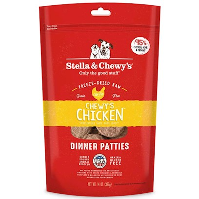 Stella &amp; Chewy's Presents Freeze Dried Chewy's Chicken Dinner for Dogs 6oz Bag. Stella and Chewy's is Dedicated to the Simple Idea that Dogs and Cats should be Healthy and Happy Every Day of their Lives. The Freeze Dried Meals are Packed Uncooked and Made from Pure, Simple and Minimally Processed Ingredients to Provide your Pet with Food as Nature Intended! All Meals are Prepared in House by Stella and Chewy'ssecurebynature Food Safety Process to Protect Naturally Against Harmful Bacteria while Maintaining Food Integrity and Taste. Available in Great Flavors for your Dog Like Beef, Chicken, Lamb, Duck and Fish and Great Flavors for your Cat Like Salmon and Chicken, Each Meal is Made from Raw, Naturally Raised Meat, Chicken and Fish from Reputable Usda-Inspected Sources and Organic Vegetables. There are no Added Fillers or Grains and there is no Cooking Process to Leech Away Nutrients, only Natural Taste and Necessary Vitamins and Minerals. The Raw Diet Improves Appetite and Digestion, Stamina and Vitality, Improves the Immune System and Helps your Pet Maintain and Healthier Coat and Skin. Help Keep your Pet Healthy and Happy with Stella and Chewy's Freeze Dried Meals. Primary Protein Source Chicken Primary Carb Source Chicken Analysis Crude Protein Min 42.0% Crude Fat Min 25.0% Crude Fiber Max 4.0% Moisture Max 5.0% Calorie Content 4,388 Kcal/Kg (Calculated); 60 Kcal Per Patty Formulated to Meet the Nutritional Levels Established by the Aafco Dog Food Nutrient Profiles for all Life Stages. [36997]