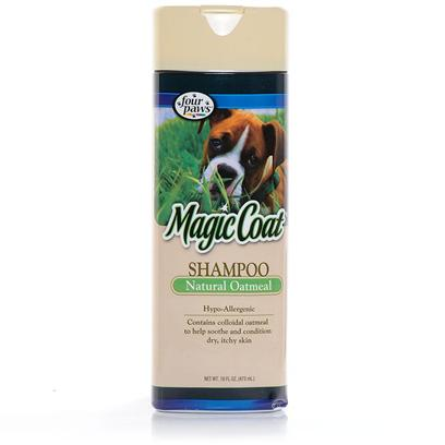 Four Paws Presents Magic Coat Natural Oatmeal Shampoo 16oz. Magic Coat Natural Oatmeal Shampoo is Hypo-Allergenic and Used by Veterinarians and Professional Groomers for the Relief of Dry, Itchy Skin. Excellent for Dogs that Require Steroid Treatment. We Recommend Supplementing with Magic Coat Natural Oatmeal Crme Rinse. [37032]