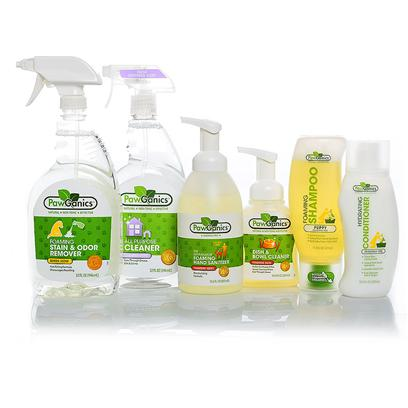 Pawganics Presents Pawganics Puppy Essential Savings Bundle Essentials Package. Puppies are as Fragile as they are Adorable. This Bundle of Perfect-for-Puppy Products from Pawganics will Keep your Puppy Clean, Safe and Healthy. From Shampoo and Conditioner to all Purpose Cleaner and Hand Sanitizer, we have Everything you and your Puppy Need. Our Puppy Essential Savings Bundle Includes  Pawganics all Purpose Cleaner O Pawganics all-Purpose Household Cleaner Utilizes Natural, Non-Toxic Ingredients that Perform as Well as Conventional Cleaners. Safe for Use on any Hard Surface Throughout your Home. Works Great on Kennels, Crates, in the Car, Etc.  Pawganics Foaming Stain &amp; Odor Remover O Pawganics Foaming Stain &amp; Odor Remover Fights Tough Pet Accidents and Smells Natural. Our Powerful Instant Foaming Formula Penetrates Deep Down and Eliminates the Worst of Smells, Helping to Discourage your Pet from Resoiling.  Pawganics Foaming Shampoo Puppy Formula O the Days of Struggling with a Wet Dog, Bulky Bottles of Shampoo and Hard to Rinse Formulas are Over! Pawganics Foaming Shampoo Revolutionizes Bath Time with its Exclusive, One-Handed Foaming Applicator. Simply Pop Open and Apply the Perfect Amount of Shampoo Right where it's Needed. The Clean Rinsing Formula Requires Less Water and Won't Leave any Residue Behind. Follow with Pawganics Hydrating Conditioner for a Smooth, Shiny Coat. Pawganics Puppy Shampoo's Unique Instant Foam Delivery System Allows for Quick, Easy and Uniform Application. Our Natural, Plant-Based Formula is on-Toxic and Hypoallergenic, and Leaves Puppy's Delicate Coat Soft and Fluffy. The Fragrance Free Shampoo is also Tearless.  Pawganics Hydrating Conditioner O Pawganics Hydrating Conditioner Moisturizes and Protects your Pets Coat Leaving it Super Soft and Shiny. Specially Formulated with Natural Plant-Based Ingredients which are Gentle and Non-Toxic. Our Hydrating Formula Nourishes the Skin and Coat Helping to Eliminate Mats and Tangles.  Pawganics Foaming Hand Sanitizer O Pawganics Alcohol Free Foaming Hand Sanitizer Effectively Kills 99.9% of Germs on Hands without the Use of Harsh Alcohol, which can be Dangerous to Both Pets and their Owners. Perfect for Walks, in the Car and all Around the House.- Alcohol Free - Kills 99.9 % of Germs- Fragrance Free - 2x the Use of Gels O  Pawganics Dish &amp; Bowl Soap O Pawganics Foaming Dish &amp; Bowl Soap Provides Natural Cleaning Power with a Unique Foaming Applicator that Reduces the Amount of Both Soap and Water yet Cleans as Well as Conventional Gel Based Liquid Soap. Safe to Use on Stainless Steel, Ceramic or Plastic Bowls and Automatic Watering Devices. [37042]