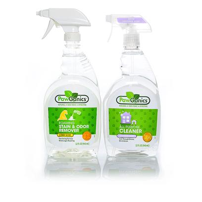 Pawganics Presents Pawganics Stain and all Purpose Cleaner Sale Package. This Wonderful Smelling Odor Remover from Pawganics is a Must-have in your Natural Pet Product Toolkit, but we don't Want to Leave you Stranded without a Good all Purpose Cleaner, so We've Thrown One in for Free. We Hope you Enjoy. Our Stain & all Purpose Cleaner Sale Includes · Pawganics Foaming Stain & Odor Remover O Pawganics Foaming Stain & Odor Remover Fights Tough Pet Accidents and Smells Natural. Our Powerful Instant Foaming Formula Penetrates Deep Down and Eliminates the Worst of Smells, Helping to Discourage your Pet from Resoiling. · Pawganics all Purpose Cleaner O Pawganics all-Purpose Household Cleaner Utilizes Natural, Non-Toxic Ingredients that Perform as Well as Conventional Cleaners. Safe for Use on any Hard Surface Throughout your Home. Works Great on Kennels, Crates, in the Car, Etc. [37046]