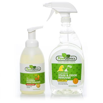 Pawganics Presents Pawganics Hand Sanitizer &amp; Stain and Odor Remover Sale Package. Pawganics Hand Sanitizer &amp; Stain and Odor Remover Sale Includes  Pawganics Foaming Hand Sanitizer O Pawganics Alcohol Free Foaming Hand Sanitizer Effectively Kills 99.9% of Germs on Hands without the Use of Harsh Alcohol, which can be Dangerous to Both Pets and their Owners. Perfect for Walks, in the Car and all Around the House.- Alcohol Free - Kills 99.9 % of Germs- Fragrance Free - 2x the Use of Gels  Pawganics Foaming Stain &amp; Odor Remover O Pawganics Foaming Stain &amp; Odor Remover Fights Tough Pet Accidents and Smells Natural. Our Powerful Instant Foaming Formula Penetrates Deep Down and Eliminates the Worst of Smells, Helping to Discourage your Pet from Resoiling. [37058]