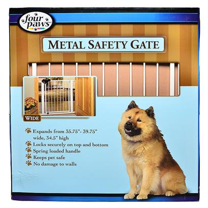 Four Paws Presents Four Paws Metal Safety Gate 35.75'-39.25'wide X 35'high. The Handle on the Four Paws Metal Safety Gate is Designed to be Gripped and Squeezed from the Bottom so that Dogs Cannot Place their Paws on the Handle and Inadvertently Open the Gate. These Gates can be Opened to Walk through in Either Direction. Gates are Conveniently Pressure Mounted so there is no Damage to Walls. Tools are not Required to Install this Gate. [37062]