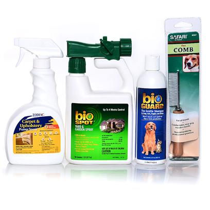 Buy Flea &amp; Tick Protection Package 100% Flea and Tick Control is Never a Guarantee. However, this Bundle Offer Provides Broader Protection from Fleas and Ticks than youLl Find in any Individual Repellent. All Dogs and Cats who Spend any Time Outside are Viable Hosts for Fleas and/or Ticks. One of the Greatest Foes youLl Face Once a Flea or Tick has Attached to your Pet is Time. Time Allows Fleas and Ticks to Feed and Consequently, to Reproduce. This Unique Combination of Flea and Tick Control Products is not only Designed to Prevent a Flea or Tick from Ever Getting Onto your Pet, but also Controlling Infestations should One of these Parasites Gain Access to One of your Best Friends. This Package Includes  Zodiac Pre-Strike Yard and Garden  Zodiac Carpet and Upholstery Pump Spray  Farnam Bio Guard Shampoo  Safari Wood Handle Flea Comb [37079]