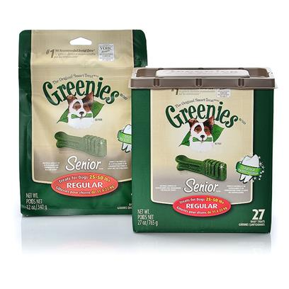 Greenies Presents Greenies Senior Regular for Dogs 25-50 Lbs 27 Counts. Greenies Senior  Canine Dental Chews are Specially Formulated for Aging Dogs, 7 Years or Older, and are the #1 Veterinarian-Recommended Dental Chews* that Provide a Total Oral Health Solution. In Pet Specialty, Among Veterinarians that Recommended Dental Chews for at-Home Oral Care. Greenies Senior  Dental Chews are Naturally Made with Added Vitamins, Minerals, Taurine, and Chlorophyll (Sodium Copper Chlorophyllin) to Provide a Complete Oral Care, and Offer a Nutritionally Complete and Balanced Blend of Highly Soluble and Digestible Proteins for Adult Dogs Based on Aafco Recommendations. Greenies Senior  Dental Chews are Specifically Formulated to Address the Needs of Older Dogs (7+) with a Soft and Chewy Texture that's Easier on Sensitive Teeth and Gums. The Blend of High-Quality Proteins Fortified with Vitamins and Minerals Make Greenies Senior  Dental Chews Nutritionally Complete and Balanced for Adult Dog Maintenance. And Greenies Senior  Dental Chews also Contain Natural Sources of Antioxidants for a Healthy Immune System as Well as the Addition of Vegetable and Fruit Inclusions. [37102]