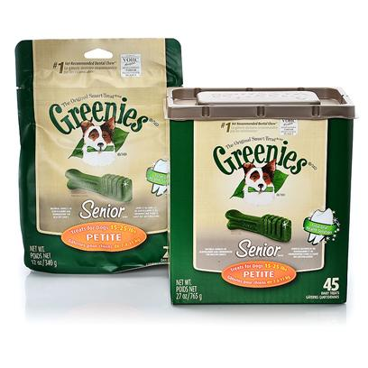 Greenies Presents Greenies Senior Petite for Dogs 15-25 Lbs 45 Count. Greenies Senior  Canine Dental Chews are Specially Formulated for Aging Dogs, 7 Years or Older, and are the #1 Veterinarian-Recommended Dental Chews* that Provide a Total Oral Health Solution. In Pet Specialty, Among Veterinarians that Recommended Dental Chews for at-Home Oral Care. Greenies Senior  Dental Chews are Naturally Made with Added Vitamins, Minerals, Taurine, and Chlorophyll (Sodium Copper Chlorophyllin) to Provide a Complete Oral Care, and Offer a Nutritionally Complete and Balanced Blend of Highly Soluble and Digestible Proteins for Adult Dogs Based on Aafco Recommendations. Greenies Senior  Dental Chews are Specifically Formulated to Address the Needs of Older Dogs (7+) with a Soft and Chewy Texture that's Easier on Sensitive Teeth and Gums. The Blend of High-Quality Proteins Fortified with Vitamins and Minerals Make Greenies Senior  Dental Chews Nutritionally Complete and Balanced for Adult Dog Maintenance. And Greenies Senior  Dental Chews also Contain Natural Sources of Antioxidants for a Healthy Immune System as Well as the Addition of Vegetable and Fruit Inclusions. [37104]