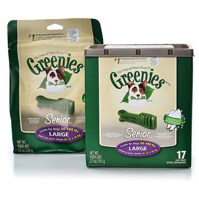 Greenies Presents Greenies Senior Large for Dogs 50-100 Lbs 17 Count. Greenies Senior ® Canine Dental Chews are Specially Formulated for Aging Dogs, 7 Years or Older, and are the #1 Veterinarian-Recommended Dental Chews* that Provide a Total Oral Health Solution. In Pet Specialty, Among Veterinarians that Recommended Dental Chews for at-Home Oral Care. Greenies Senior ® Dental Chews are Naturally Made with Added Vitamins, Minerals, Taurine, and Chlorophyll (Sodium Copper Chlorophyllin) to Provide a Complete Oral Care, and Offer a Nutritionally Complete and Balanced Blend of Highly Soluble and Digestible Proteins for Adult Dogs Based on Aafco Recommendations. Greenies Senior ® Dental Chews are Specifically Formulated to Address the Needs of Older Dogs (7+) with a Soft and Chewy Texture that's Easier on Sensitive Teeth and Gums. The Blend of High-Quality Proteins Fortified with Vitamins and Minerals Make Greenies Senior ® Dental Chews Nutritionally Complete and Balanced for Adult Dog Maintenance. And Greenies Senior ® Dental Chews also Contain Natural Sources of Antioxidants for a Healthy Immune System as Well as the Addition of Vegetable and Fruit Inclusions. [37106]