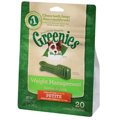 Greenies Presents Greenies Lite Petite for Dogs 15-25 Lbs 45 Counts. Greenies Lite ® Canine Dental Chews are Nutritious and Calorie Friendly Specifically Formulated to Help Promote Dental Care while Providing Essential Vitamins, Antioxidants and Minerals. Greenies Lite ® Dental Chews are Naturally Made with Added Vitamins, Minerals, Taurine, and Chlorophyll (Sodium Copper Chlorophyllin) to Provide a Complete Oral Care, and Offer a Nutritionally Complete and Balanced Blend of Highly Soluble and Digestible Proteins for Adult Dogs Based on Aafco Recommendations. If you or your Dog Isn't 100% Satisfied, You'll Receive your Money Back. Guaranteed. Greenies Lite ® Dental Chews are Clinically Proven to Clean Dog's Teeth by Fighting Both Plaque and Tartar Buildup, Freshening Breath and Maintaining Healthier Teeth and Gums. Greenies Lite ® Dental Chews are Specifically Formulated to Help Clean Dogs' Teeth while also Allowing you to Keep an Eye on his Weight. The Blend of High-Quality Proteins Fortified with Vitamins and Minerals Make Greenies Lite ® Dental Chews Nutritionally Complete and Balanced for Adult Dog Maintenance. And Greenies Lite ® Dental Chews also Contain Natural Sources of Antioxidants for a Healthy Immune System as Well as the Addition of Vegetable and Fruit Inclusions. [37113]