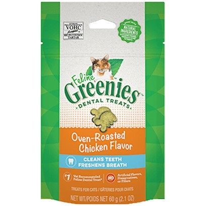 Greenies Presents Greenies Feline Oven Roasted Chicken Flavor 2.5oz. Oral Health Issues are the Most Common Health Problems Diagnosed in Adult Pets and are Often a Silent Process that Progresses without Detection.* the Unique Teeth-Cleaning Shape and Great Taste of Feline Greenies  Dental Treats Help Prevent the Buildup of Plaque and Tartar Accumulation on your Cat's Teeth - the Two Leading Contributors of Dental Health Issues - and will Stir Up Purrs of Joy. Your Cat will Love the Roasted Chicken Flavor so Much, they Won't Even Know they're Taking their Medication. Natural Formula with Added Vitamins, Minerals, Taurine, and Chlorophyll for Optimum Feline Health. Feline Greenies  Dental Treats are 100% Nutritionally Complete and Balanced for Adult Cats. If you or your Cat Isn't 100% Satisfied, You'll Receive your Money Back. Guaranteed. Cat Dental Care has Never been Easier, or More Delicious. It's a Difference You'll See. Cats Need a Little More than just our Love and Affection. That's Why Feline Greenies  Dental Treats are Specifically Formulated to Mechanically Remove the Plaque and Tartar Accumulation on your Cat's Teeth. And they are 100% Nutritionally Complete and Balanced for Adult Cats. [37119]