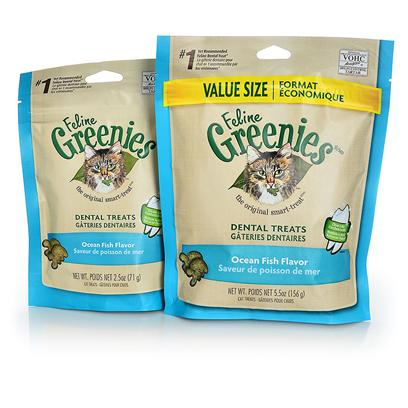 Greenies Presents Greenies Feline Ocean Fish Flavor 2.5oz. Oral Health Issues are the Most Common Health Problems Diagnosed in Adult Pets and are Often a Silent Process that Progresses without Detection.* the Unique Teeth-Cleaning Shape and Great Taste of Feline Greenies  Dental Treats Help Prevent the Buildup of Plaque and Tartar Accumulation on your Cat's Teeth - the Two Leading Contributors of Dental Health Issues - and will Stir Up Purrs of Joy. Your Pet will Love the Ocean Fish Flavor so Much, they Won't Even Realize they are Taking their Medication! Natural Formula with Added Vitamins, Minerals, Taurine, and Chlorophyll for Optimum Feline Health. Feline Greenies  Dental Treats are 100% Nutritionally Complete and Balanced for Adult Cats. If you or your Cat Isn't 100% Satisfied, You'll Receive your Money Back. Guaranteed. Cat Dental Care has Never been Easier, or More Delicious. It's a Difference You'll See. Cats Need a Little More than just our Love and Affection. That's Why Feline Greenies  Dental Treats are Specifically Formulated to Mechanically Remove the Plaque and Tartar Accumulation on your Cat's Teeth. And they are 100% Nutritionally Complete and Balanced for Adult Cats. [37121]