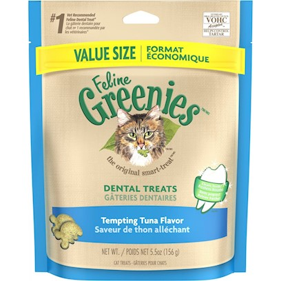 Greenies Presents Greenies Feline Tempting Tuna Flavor 5.5oz. Oral Health Issues are the Most Common Health Problems Diagnosed in Adult Pets and are Often a Silent Process that Progresses without Detection.* the Unique Teeth-Cleaning Shape and Great Taste of Feline Greenies  Dental Treats Help Prevent the Buildup of Plaque and Tartar Accumulation on your Cat's Teeth - the Two Leading Contributors of Dental Health Issues - and will Stir Up Purrs of Joy. Natural Formula with Added Vitamins, Minerals, Taurine, and Chlorophyll for Optimum Feline Health. Feline Greenies  Dental Treats are 100% Nutritionally Complete and Balanced for Adult Cats. If you or your Cat Isn't 100% Satisfied, You'll Receive your Money Back. Guaranteed. Cat Dental Care has Never been Easier, or More Delicious. It's a Difference You'll See. Cats Need a Little More than just our Love and Affection. That's Why Feline Greenies  Dental Treats are Specifically Formulated to Mechanically Remove the Plaque and Tartar Accumulation on your Cat's Teeth. And they are 100% Nutritionally Complete and Balanced for Adult Cats. [37123]