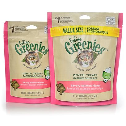 Greenies Presents Greenies Feline Savory Salmon Flavor 2.5oz. Oral Health Issues are the Most Common Health Problems Diagnosed in Adult Pets and are Often a Silent Process that Progresses without Detection.* the Unique Teeth-Cleaning Shape and Great Taste of Feline Greenies  Dental Treats Help Prevent the Buildup of Plaque and Tartar Accumulation on your Cat's Teeth - the Two Leading Contributors of Dental Health Issues - and will Stir Up Purrs of Joy. Natural Formula with Added Vitamins, Minerals, Taurine, and Chlorophyll for Optimum Feline Health. Feline Greenies  Dental Treats are 100% Nutritionally Complete and Balanced for Adult Cats. If you or your Cat Isn't 100% Satisfied, You'll Receive your Money Back. Guaranteed. Cat Dental Care has Never been Easier, or More Delicious. It's a Difference You'll See. Cats Need a Little More than just our Love and Affection. That's Why Feline Greenies  Dental Treats are Specifically Formulated to Mechanically Remove the Plaque and Tartar Accumulation on your Cat's Teeth. And they are 100% Nutritionally Complete and Balanced for Adult Cats. [37124]