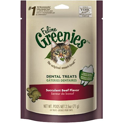 Greenies Presents Greenies Feline Succulent Beef Flavor 2.5oz. Oral Health Issues are the Most Common Health Problems Diagnosed in Adult Pets and are Often a Silent Process that Progresses without Detection.* the Unique Teeth-Cleaning Shape and Great Taste of Feline Greenies  Dental Treats Help Prevent the Buildup of Plaque and Tartar Accumulation on your Cat's Teeth - the Two Leading Contributors of Dental Health Issues - and will Stir Up Purrs of Joy. Natural Formula with Added Vitamins, Minerals, Taurine, and Chlorophyll for Optimum Feline Health. Feline Greenies  Dental Treats are 100% Nutritionally Complete and Balanced for Adult Cats. If you or your Cat Isn't 100% Satisfied, You'll Receive your Money Back. Guaranteed. Cat Dental Care has Never been Easier, or More Delicious. It's a Difference You'll See. Cats Need a Little More than just our Love and Affection. That's Why Feline Greenies  Dental Treats are Specifically Formulated to Mechanically Remove the Plaque and Tartar Accumulation on your Cat's Teeth. And they are 100% Nutritionally Complete and Balanced for Adult Cats. [37126]