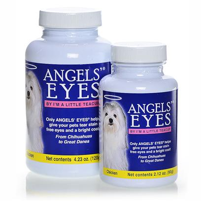Angels Eyes Presents Angels' Eyes Chicken Flavor for Dogs and Cats 120gm. Epiphora is a Condition that Causes the Overflow of Tears Onto the Face. In Cats and Dogs, this Overflow can Lead to a Reddish Brown Staining of the Fur. This Staining can Even Emit a Strong Odor. Angels' Eyes is the First Product Specifically Developed for Both Dogs &amp; Cats to Eliminate Unsightly Tear Stains from the Inside Out! Angels' Eyes also Helps to Eliminate Staining Around the Mouth and their Coats Due to Licking. Other Products are Topical Requiring High Maintenance and yet will only Remove the Tear Stains Temporarily Causing it to Return Worse than Before. Angels' Eyes Starts Working Before the Tear Stains Begin and Never Adds Food Dyes or Wheat which can have Negative Effects on your Pet. While Angels' Eyes is Available without a Prescription, it is Best to Consult your Pet's Veterinarian Before Starting your Pet on a Supplement Regimen. For Best Results, Use the Product as Directed. [37136]