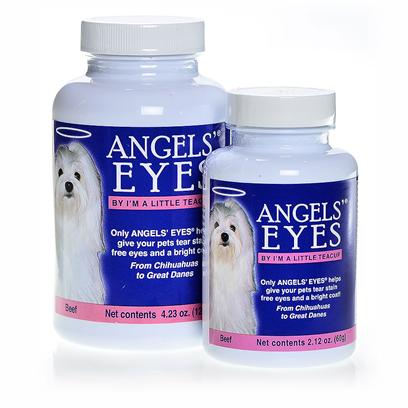 Angels Eyes Presents Angels' Eyes Beef Flavor for Dogs and Cats 120gm. Epiphora is a Condition that Causes the Overflow of Tears Onto the Face. In Cats and Dogs, this Overflow can Lead to a Reddish Brown Staining of the Fur. This Staining can Even Emit a Strong Odor. Angels' Eyes is the First Product Specifically Developed for Both Dogs &amp; Cats to Eliminate Unsightly Tear Stains from the Inside Out! Angels' Eyes also Helps to Eliminate Staining Around the Mouth and their Coats Due to Licking. Other Products are Topical Requiring High Maintenance and yet will only Remove the Tear Stains Temporarily Causing it to Return Worse than Before.Angels' Eyes Starts Working Before the Tear Stains Begin and Never Adds Food Dyes or Wheat which can have Negative Effects on your Pet. While Angels' Eyes is Available without a Prescription, it is Best to Consult your Pet's Veterinarian Before Starting your Pet on a Supplement Regimen. For Best Results, Use the Product as Directed. [37138]
