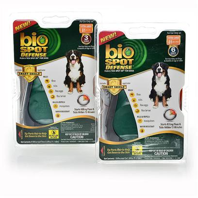 Buy Bio Spot Defense Flea & Tick on with Smart Shield 81 Lbs over-6 Months Supply Bio Spot ® Spot on ® Flea & Tick Control for Dogs Ensures Continuing Long-Term Protection for your Pet. Bio Spot ® Spot on ® Products Kill Adult Fleas and Ticks and Contain an Insect Growth Regulator to Kill Flea Eggs and Larvae for Up to 30 Days. · New! The Bio Spot ® Smart Shieldtm Applicator · Keeps the Liquid off your Hands · Makes it Easier to Part your Pet's Fur · Gets Liqui Down to your Pet's Skin · Easy to Load and Apply! · Starts Killing Fleas and Ticks Within 15 Minutes · Fresh Clean Scent · Water Resistant in Humid and Wet Conditions · Contains Lanolin to Help Condition Coat · Formulated with an Insect Growth Regulator (Igr) to Break the Flea-Life Cycle · Controls Flea Reinfestation for Up to 2.5 Months [37202]