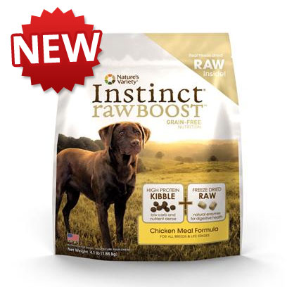 Nature's Variety Presents Nature's Variety Instinct Raw Boost Grain Free Chicken Meal Formula Dry Dog Food 23.5 Lbs. Pure, Instinctive Nutrition for your Dog we Invite you to Try our New Instinct Raw Boost Dry Dog Food. Instinct Raw Boost is the Perfect Combination of the Nutrition of our Grain-Free Instinct Dry Food Boosted with Freeze-Dried Raw Pieces. Get the Benefits of Raw in an Easy-to-Feed, Great-Tasting Form your Pet will Love! Instinct Foods are Grain-Free and Gluten-Free  Perfect for Satisfying your DogS Carnivorous Cravings and Nutritional Needs. Instinct is also Highly Digestible and Nutritionally Dense, Making it a Natural Solution for Pets with Allergies or Weight Issues. Feed Instinctively to Give your Pet the Nourishment and Energy to Enjoy Life Every Day. Instinct Raw Boost is Made by Nature's Variety, a Natural Pet Food Company Located in Lincoln, Nebraska. Our Team is Passionate About Providing Proper, Holistic Nutrition for your Beloved Dog. Instinct Products Including our New Instinct Raw Boost are Designed so you can Feed Canned and Kibble Food in a Variety of Flavors to your Pet. We are Proud Pet Parents, just Like You! We Understand that your Pet has a Special Place in your Family, in your Life, and in your Heart. Key Benefits  the Great Nutrition of Instinct Grain-Free Dry Dog Food (no Fillers or Soy) Boosted with Freeze-Dried Raw Pieces - Proven to Provide Great Taste and Nutrition  High Protein, Grain Free Dry Dog Food that Provides the Nutrition Dogs Need in a Great Tasting Kibble Dogs Love  may Provide Relief from Food Allergies and Helps your Dog Reach and Maintain an Ideal Weight Along with Proper Portions and Exercise  Perfect for Small to Large Dogs and Complete and Balanced for all Life Stages and all Breeds  Made in the Usa Nutrition Analysis Crude Protein (Min) 42.0% Crude Fat (Min) 22.0% Crude Fiber (Max) 4.5% Moisture (Max) 8.0% Omega 3 Fatty Acids (Min) 0.3% Omega 6 Fatty Acids (Min) 2.6% Ingredients Chicken Meal, Tapioca, Chicken Fat, Pumpkinseeds, Menhaden Fish Meal, SunCured Alfalfa Meal, Montmorillonite Clay, Natural Chicken Flavor, Freeze Dried Chicken (Including Freeze Dried Ground Chicken Bone), Freeze Dried Turkey, Freeze Dried Turkey Liver, Freeze Dried Turkey Heart, Vitamins (Choline Chloride, Vitamin E Supplement, LAscorbyl2Polyphosphate, Biotin, Niacin Supplement, Vitamin a Acetate, DCalcium Pantothenate, Riboflavin Supplement, Pyridoxine Hydrochloride, Thiamine Mononitrate, Vitamin B12 Supplement, Beta Carotene, Vitamin D3 Supplement, Folic Acid), Minerals (Zinc Proteinate, Iron Proteinate, Manganese Proteinate, Copper Proteinate, Sodium Selenite, Ethylenediamine Dihydriodide), Sea Salt, Dried Kelp, DirectFed Microorganisms (Saccharomyces Cerevisiae Yeast Culture, Dried Enterococcus Faecium Fermentation Product, Dried Lactobacillus Acidophilus Fermentation Product, Dried Aspergillus Niger Fermentation Extract, Dried Trichoderma Longibrachiatum Fermentation Extract, Dried Bacillus Subtilis Fermentation Extract), Apples, Carrots, Butternut Squash, Inulin, Flaxseed Oil, Peas, Chicken Eggs, Mixed Tocopherols with Citric Acid (a Natural Preservative), Ground Flaxseeds, Broccoli, Lettuce, Spinach, Apple Cider Vinegar, Parsley, Honey, Salmon Oil, Rosemary Extract, Olive Oil, Blueberries, Alfalfa Sprouts, Persimmons, Rosemary, Sage, Clove [37219]