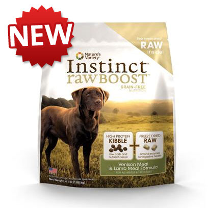 Nature's Variety Presents Nature's Variety Instinct Raw Boost Grain Free Venison Meal &amp; Lamb Formula Dry Dog Food 12.3 Lbs. Nature's Variety Instinct Raw Boost Grain Free Venison Meal &amp; Lamb Meal Formula Dry Dog Food. Instinct Raw Boost is the First Ever Grain-Free Kibble with Freeze Dried Raw in the Same Bag. It's Never been More Convenient to Nourish your Dog with the Nutrition of Raw. The Grain-Free Kibble Provides High Protein Nutrition Along with Freeze Dried Raw Pieces to Give your Dog a Bite-Sized Boost of Healthy Raw Food. [37220]
