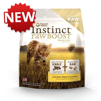 Nature's Variety Presents Nature's Variety Instinct Raw Boost Grain Free Chicken Meal Dry Cat Food 11.3 Lbs. Pure, Instinctive Nutrition for your Cat we Invite you to Try our New Instinct Raw Boost Dry Cat Food. Instinct Raw Boost is the Perfect Combination of the Nutrition of our Grain-Free Instinct Dry Food Boosted with Freeze-Dried Raw Pieces. Get the Benefits of Raw in an Easy-to-Feed, Great-Tasting Form your Cat will Love! Instinct Foods are Grain-Free and Gluten-Free  Perfect for Satisfying your CatS Carnivorous Cravings and Nutritional Needs. Instinct is also Highly Digestible and Nutritionally Dense, Making it a Natural Solution for Pets with Allergies or Weight Issues. Feed Instinctively to Give your Pet the Nourishment and Energy to Enjoy Life Every Day. Instinct Raw Boost is Made by Nature's Variety, a Natural Pet Food Company Located in Lincoln, Nebraska. Our Team is Passionate About Providing Proper, Holistic Nutrition for your Beloved Cat. Instinct Products Including our New Instinct Raw Boost are Designed so you can Feed Canned and Kibble Food in a Variety of Flavors to your Pet. We are Proud Pet Parents, just Like You! We Understand that your Pet has a Special Place in your Family, in your Life, and in your Heart. Key Benefits  the Great Nutrition of Instinct Grain-Free Dry Cat Food (no Fillers or Soy) Boosted with Freeze-Dried Raw Pieces - Proven to Provide Great Taste and Nutrition  High Protein, Grain Free Dry Cat Food that Provides the Nutrition Cats Need in a Great Tasting Kibble Cats Love  may Provide Relief from Food Allergies and Helps your Cat Reach and Maintain an Ideal Weight Along with Proper Portions and Exercise  Complete and Balanced for all Life Stages and all Breeds  Made in the Usa Nutrition Analysis Crude Protein (Min) 50.0% Crude Fat (Min) 22.0% Crude Fiber (Max) 2.8% Moisture (Max) 8.0% Omega 3 Fatty Acids (Min) 0.2% Omega 6 Fatty Acids (Min) 2.4% Ingredients Chicken Meal, Tapioca, Chicken Fat, Pumpkinseeds, Menhaden Fish Meal, SunCured Alfalfa Meal, Montmorillonite Clay, Natural Chicken Flavor, Freeze Dried Chicken (Including Freeze Dried Ground Chicken Bone), Freeze Dried Turkey, Freeze Dried Turkey Liver, Freeze Dried Turkey Heart, Vitamins (Choline Chloride, Vitamin E Supplement, LAscorbyl2Polyphosphate, Biotin, Niacin Supplement, Vitamin a Acetate, DCalcium Pantothenate, Riboflavin Supplement, Pyridoxine Hydrochloride, Thiamine Mononitrate, Vitamin B12 Supplement, Beta Carotene, Vitamin D3 Supplement, Folic Acid), Minerals (Zinc Proteinate, Iron Proteinate, Manganese Proteinate, Copper Proteinate, Sodium Selenite, Ethylenediamine Dihydriodide), Sea Salt, Dried Kelp, DirectFed Microorganisms (Saccharomyces Cerevisiae Yeast Culture, Dried Enterococcus Faecium Fermentation Product, Dried Lactobacillus Acidophilus Fermentation Product, Dried Aspergillus Niger Fermentation Extract, Dried Trichoderma Longibrachiatum Fermentation Extract, Dried Bacillus Subtilis Fermentation Extract), Apples, Carrots, Butternut Squash, Inulin, Flaxseed Oil, Peas, Chicken Eggs, Mixed Tocopherols with Citric Acid (a Natural Preservative), Ground Flaxseeds, Broccoli, Lettuce, Spinach, Apple Cider Vinegar, Parsley, Honey, Salmon Oil, Rosemary Extract, Olive Oil, Blueberries, Alfalfa Sprouts, Persimmons, Rosemary, Sage, Clove [37224]