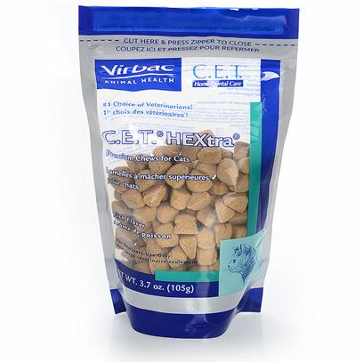 Virbac Presents C.E.T. Hextra Premium Chews for Cats Fish Flavor 3.7oz. Home Dental Care is as Important for your Pets as it is for You. A Program of Oral Hygiene and Regular Professional Care can Prevent Problems that Might Occur as the Result of Plaque and Tartar Buildup. Routine Home Dental Care should be a Part of Every Pet's Health Care Program. C.E.T. Hextra Premium Chews for Cats Contains Chlorhexidine, Combined with the Chewing Action will Help Reduce Plaque and Tartar Build Up on your Cat's Teeth. Give your Cat Up to 5 Chews Daily, or as Directed by your Veterinarian, to Help Reduce Plaque and Calculus. This Product is Intended for Intermittent or Supplemental Feeding Only. As with any Pet Product, it is not Intended for Human Consumption. Please Keep out of Reach of Children and Wash Hands After Handling. The Oral Hygiene Benefit of Cet Hextra Chews can only be Achieved by Adequate Chewing Action. Gulping Whole Chews will Reduce the Efficacy and can be Harmful to your Pet. [37226]