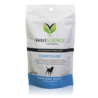 Vetri-Science Presents Composure for Dogs Chicken Liver Flavor 60 Count. Composure Canine Formula Chews are for Dogs Exhibiting Nervousness, Hyperactivity, Anxiety or Responding to Environmentally Induced Stress. It is an Advanced Formula that Contains a Combination of Factors not Found in Other Calming Formulas that Supports Balanced Behavior. A Calming Formula Providing C3 Calming Complex, L-Theanine and Thiamine to Support Balanced Behavior. 26-50 Lbs 1 Chew Daily 51-100 Lbs 2 Chew Daily over 100 Lbs 3 Chew Daily [37229]