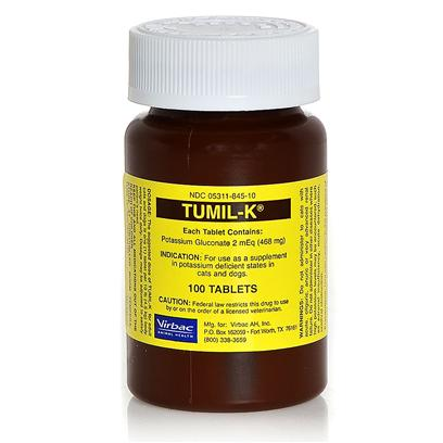 Virbac Presents Tumil-K Potassium Supplement Bottle - (100 Tablets). Elite Runners Keep Bananas in their Bags, because they Know the Importance of Potassium. Pets Suffering from Kidney Disease, or Chronic Vomiting or Loss of Appetite, may Experience Potassium Deficiency. Potassium is a Necessary Mineral in the Body that Helps Conduct Nerve Impulses and Regulate Muscle Movement, Including the Heart Muscle. Tumil-K Potassium Supplement Delivers the Necessary Amount of Potassium to Pets who Need It. Protect your Pet's Heart with Tumil-K. [37234]