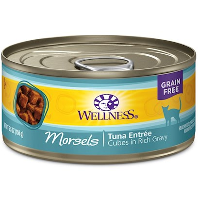 Wellpet Presents Wellness Cubed Tuna Entree Canned Cat Food 5oz - Pack of 24. A Taste theyLl Love with the Nutrition they Deserve. These Tasty Morsels in Light Gravy Include Natural, Wholesome Ingredients with no Added Artificial Colors, Flavors or Preservatives. This Entre is a Great Way to Add some Variety to your CatS Diet, in Addition to Providing an Additional Source of Water for Healthy Hydration! [37252]