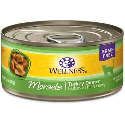 Wellpet Presents Wellness Cubed Turkey Dinner 5oz - Pack of 24. Water is One of the Most Important Nutrients with Respect to a Cat's Overall Wellbeing. Since Cats do not have a Strong Thirst Drive, it is Important for a Cat to Ingest Water with its Food. Packed with the Same Whole Food Nutrition as our Dry Formulas, Wellness Canned Foods are a Delicious Way to Increase your Cat's Water Intake. As a Special Treat or as a Part of your Regular Feeding, Wellness Canned Foods are yet Another Tasty Way for your Cat to Eat Healthy. Wellness Canned Cat Cuts Offers a Complete and Balanced Grain Free Meal for Cats. With its Wholesome, Healthy, and Natural Ingredients it is Perfect for Encouraging Hydration to Help Support Urinary Tract Health. Contains no Artificial Colors, Flavors or Preservatives. [37253]