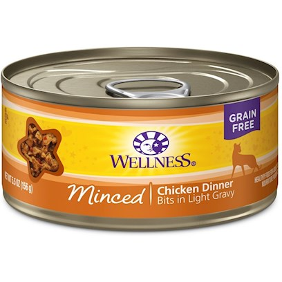 Wellpet Presents Wellness Minced Chicken Dinner Canned Cat Food 3oz - Pack of 24. Water is One of the Most Important Nutrients with Respect to a Cat's Overall Wellbeing. Since Cats do not have a Strong Thirst Drive, it is Important for a Cat to Ingest Water with its Food. Packed with the Same Whole Food Nutrition as our Dry Formulas, Wellness Canned Foods are a Delicious Way to Increase your Cat's Water Intake. As a Special Treat or as a Part of your Regular Feeding, Wellness Canned Foods are yet Another Tasty Way for your Cat to Eat Healthy. Wellness Canned Cat Cuts Offers a Complete and Balanced Grain Free Meal for Cats. With its Wholesome, Healthy, and Natural Ingredients it is Perfect for Encouraging Hydration to Help Support Urinary Tract Health. Contains no Artificial Colors, Flavors or Preservatives. [37239]