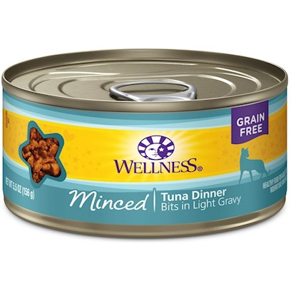 Wellpet Presents Wellness Minced Tuna Dinner Canned Cat Food 5oz - Pack of 24. Wellness Canned Cat Cuts Offers a Complete and Balanced Grain Free Meal for Cats. With its Wholesome, Healthy, and Natural Ingredients it is Perfect for Encouraging Hydration to Help Support Urinary Tract Health. Contains no Artificial Colors, Flavors or Preservatives. [37257]