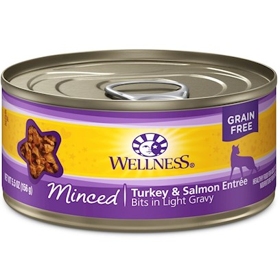 Wellpet Presents Wellness Minced Turkey &amp; Salmon Entree 5oz - Pack of 24. Water is One of the Most Important Nutrients with Respect to a CatS Overall Wellbeing. Since Cats do not have a Strong Thirst Drive, it is Important for a Cat to Ingest Water with its Food. Packed with the Same Whole Food Nutrition as our Dry Formulas, Wellness Canned Foods are a Delicious Way to Increase your CatS Water Intake. As a Special Treat or as a Part of your Regular Feeding, Wellness Canned Foods are yet Another Tasty Way for your Cat to Eat Healthy. Wellness Canned Cat Cuts Offers a Complete and Balanced Grain Free Meal for Cats. With its Wholesome, Healthy, and Natural Ingredients it is Perfect for Encouraging Hydration to Help Support Urinary Tract Health. Contains no Artificial Colors, Flavors or Preservatives. [37256]
