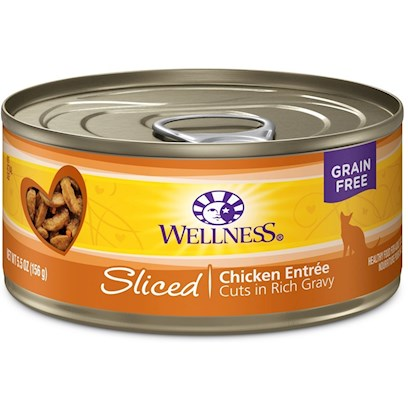 Wellpet Presents Wellness Sliced Chicken Entree Canned Cat Food 5oz - Pack of 24. A Taste They'll Love with the Nutrition they Deserve. These Tasty Cuts in Delicious Gravy Include Natural, Wholesome Ingredients with no Added Artificial Colors, Flavors or Preservatives. This Entrée is a Great Way to Add some Variety to your Cat's Diet, in Addition to Providing an Additional Source of Water for Healthy Hydration! Wellness Canned Cat Cuts Offers a Complete and Balanced Grain Free Meal for Cats. With its Wholesome, Healthy, and Natural Ingredients it is Perfect for Encouraging Hydration to Help Support Urinary Tract Health. Contains no Artificial Colors, Flavors or Preservatives. [37258]
