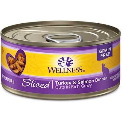 Wellpet Presents Wellness Sliced Turkey &amp; Salmon Entree 3oz - Pack of 24. 'Water is One of the Most Important Nutrients with Respect to a CatS Overall Wellbeing. Since Cats do not have a Strong Thirst Drive, it is Important for a Cat to Ingest Water with its Food. Packed with the Same Whole Food Nutrition as our Dry Formulas, Wellness Canned Foods are a Delicious Way to Increase your CatS Water Intake. As a Special Treat or as a Part of your Regular Feeding, Wellness Canned Foods are yet Another Tasty Way for your Cat to Eat Healthy. Wellness Canned Cat Cuts Offers a Complete and Balanced Grain Free Meal for Cats. With its Wholesome, Healthy, and Natural Ingredients it is Perfect for Encouraging Hydration to Help Support Urinary Tract Health. Contains no Artificial Colors, Flavors or Preservatives. ' [37248]