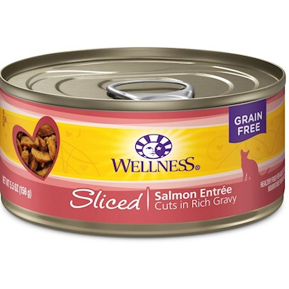 Wellpet Presents Wellness Sliced Salmon Entree 3oz - Pack of 24. 'Water is One of the Most Important Nutrients with Respect to a CatS Overall Wellbeing. Since Cats do not have a Strong Thirst Drive, it is Important for a Cat to Ingest Water with its Food. Packed with the Same Whole Food Nutrition as our Dry Formulas, Wellness Canned Foods are a Delicious Way to Increase your CatS Water Intake. As a Special Treat or as a Part of your Regular Feeding, Wellness Canned Foods are yet Another Tasty Way for your Cat to Eat Healthy. Wellness Canned Cat Cuts Offers a Complete and Balanced Grain Free Meal for Cats. With its Wholesome, Healthy, and Natural Ingredients it is Perfect for Encouraging Hydration to Help Support Urinary Tract Health. Contains no Artificial Colors, Flavors or Preservatives. ' [37247]
