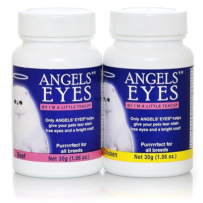 Angels Eyes Presents Angels' Eyes for Cats Chicken 30g/1.06oz. Epiphora is a Condition that Causes the Overflow of Tears Onto the Face. In Cats and Dogs, this Overflow can Lead to a Reddish Brown Staining of the Fur. This Staining can Even Emit a Strong Odor. Angels' Eyes is the First Product Specifically Developed for Both Dogs &amp; Cats to Eliminate Unsightly Tear Stains from the Inside Out! Angels' Eyes also Helps to Eliminate Staining Around the Mouth and their Coats Due to Licking. Other Products are Topical Requiring High Maintenance and yet will only Remove the Tear Stains Temporarily Causing it to Return Worse than Before. Angels' Eyes Starts Working Before the Tear Stains Begin and Never Adds Food Dyes or Wheat which can have Negative Effects on your Pet. While Angels' Eyes is Available without a Prescription, it is Best to Consult your Pet's Veterinarian Before Starting your Pet on a Supplement Regimen. For Best Results, Use the Product as Directed. [37250]