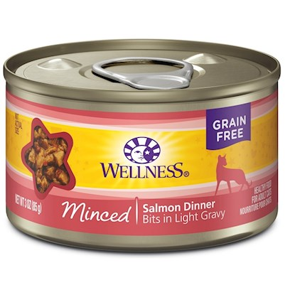 Wellpet Presents Wellness Minced Salmon 3oz - Pack of 24. Water is One of the Most Important Nutrients with Respect to a Cat's Overall Wellbeing. Since Cats do not have a Strong Thirst Drive, it is Important for a Cat to Ingest Water with its Food. Packed with the Same Whole Food Nutrition as our Dry Formulas, Wellness Canned Foods are a Delicious Way to Increase your Cat's Water Intake. As a Special Treat or as a Part of your Regular Feeding, Wellness Canned Foods are yet Another Tasty Way for your Cat to Eat Healthy. Wellness Canned Cat Cuts Offers a Complete and Balanced Grain Free Meal for Cats. With its Wholesome, Healthy, and Natural Ingredients it is Perfect for Encouraging Hydration to Help Support Urinary Tract Health. Contains no Artificial Colors, Flavors or Preservatives. ' [37261]