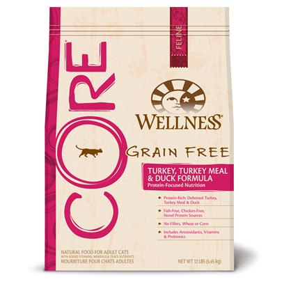 Wellpet Presents Wellness Core Grain Free Turkey Meal &amp; Duck Formula 12 Lbs. 'Wellness Core is Based on the Nutritional Philosophy that Pets, Based on their Primal Ancestry, Thrive on a Diet Mainly Comprised of Meat. Each Kibble is Packed with a High Concentration of Quality Animal Protein, without Fillers or Grains, Along with a Proprietary Blend of Botanicals and Nutritional Supplements Including Probiotics. Unlike Many Grain-Free Diets, Wellness Ensures the Overall Nutrition Equation Remains Appropriate for Everyday Feeding. Higher Protein can also Mean Higher Fat, Minerals and Calories. By Thoughtfully Selecting Specialized Ingredients and Managing Nutritional Ratios, Wellness Core Delivers Protein-Focused Nutrition - with Balance, not Excess. Wellness Core Turkey, Turkey Meal &amp; Duck Cat Formula is Chicken-Free, Fish-Free and Gluten-Free and is Omega-Rich for Healthy Skin and Coat.' [37273]
