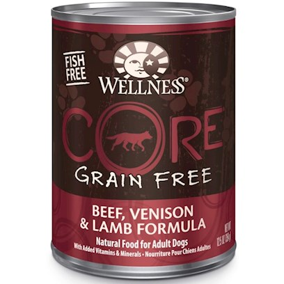 Wellpet Presents Wellness Core Grain Free Beef Venison &amp; Lamb Formula Canned 12.5oz - Case of 12. 'Wellness Core is Based on the Nutritional Philosophy that Pets, Based on their Primal Ancestry, Thrive on a Diet Mainly Comprised of Meat. Each Formula is Packed with a High Concentration of Quality Animal Protein, without Fillers or Grains, Along with a Proprietary Blend of Botanicals and Nutritional Supplements Including Probiotics. Unlike Many Grain-Free Diets, Wellness Ensures the Overall Nutrition Equation Remains Appropriate for Everyday Feeding. Higher Protein can also Mean Higher Fat, Minerals and Calories. By Thoughtfully Selecting Specialized Ingredients and Managing Nutritional Ratios, Wellness Core Delivers Protein-Focused Nutrition - with Balance, not Excess.' [37275]
