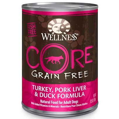 Wellpet Presents Wellness Core Grain Free Turkey Pork Liver &amp; Duck Formula Canned 12.5oz-Case of 12. 'Wellness Core is Based on the Nutritional Philosophy that Pets, Based on their Primal Ancestry, Thrive on a Diet Mainly Comprised of Meat. Each Formula is Packed with a High Concentration of Quality Animal Protein, without Fillers or Grains, Along with a Proprietary Blend of Botanicals and Nutritional Supplements Including Probiotics. Unlike Many Grain-Free Diets, Wellness Ensures the Overall Nutrition Equation Remains Appropriate for Everyday Feeding. Higher Protein can also Mean Higher Fat, Minerals and Calories. By Thoughtfully Selecting Specialized Ingredients and Managing Nutritional Ratios, Wellness Core Delivers Protein-Focused Nutrition - with Balance, not Excess.' [37276]