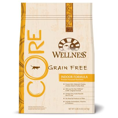 Wellpet Presents Wellness Core Grain Free Indoor Cat Formula 12 Lbs. 'Wellness Core is Based on the Nutritional Philosophy that Pets, Based on their Primal Ancestry, Thrive on a Diet Mainly Comprised of Meat. Each Kibble is Packed with a High Concentration of Quality Animal Protein, without Fillers or Grains, Along with a Proprietary Blend of Botanicals and Nutritional Supplements Including Probiotics. Unlike Many Grain-Free Diets, Wellness Ensures the Overall Nutrition Equation Remains Appropriate for Everyday Feeding. Higher Protein can also Mean Higher Fat, Minerals and Calories. By Thoughtfully Selecting Specialized Ingredients and Managing Nutritional Ratios, Wellness Core Delivers Protein-Focused Nutrition - with Balance, not Excess. Wellenss Core Indoor is Fish-Free &amp; Omega-Rich for Healthy Skin &amp; Coat. It Helps to Reduce Hairballs &amp; Maintain a Healthy Weight and Promotes Lean Muscle Mass. The Formula is also Grain-Free and Gluten-Free.' [37270]