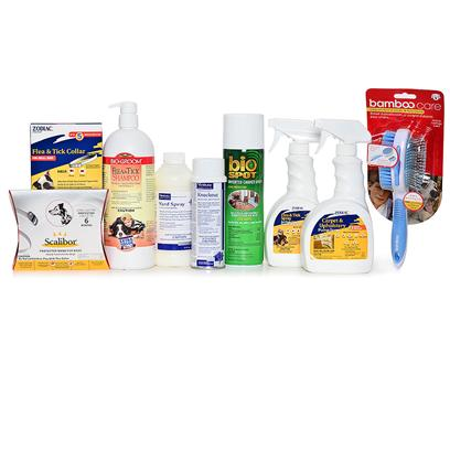 Buy Total Flea & Tick Infestation Package Offers a Zodiac Flea and Tick Collar, a Scalibor Protector for the Best Tick Protection, 32 Oz Bio Groom Flea & Tick Conditioning Shampoo, a Dog Pin/Bristle Brush with Flea Comb, 16 Oz Zodiac Flea and Tick Spray for Dogs & Cats, 6 Oz Virbac Knockout Room Fogger, 24 Oz Zodiac Carpet and Upholstery Pump Spray, 16 Oz Bio Spot Inverted Carpet Spray and a 16 Oz Virbac Yard Spray Concentrate. [37293]