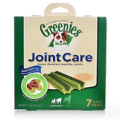 Greenies Presents Greenies® Jointcare Canine Treats 7 Count-Small/Med Dogs. Dog Owners Know the Name and the Reaction they Get. Greenies® are a Favorite Among Canines and the People who Love Them. So what Better Way to Protect your Dog's Joints then with their Favorite Treat? Greenies® Jointcare Canine Treats Contain Green-Lipped Mussel, which has a Unique Combination of Omega-3 Fatty Acids, to Naturally Maintain Joint Mobility. They also Contain Natural Sources of Glucosamine and Chondroitin from Both Green-Lipped Mussel and Chicken Cartilage to Help Protect Mobility by Providing the Building Blocks for Healthy Joints. Help Keep your Pooch Healthy, Happy, and Spry with Greenies® Jointcare Canine Treats. [37324]