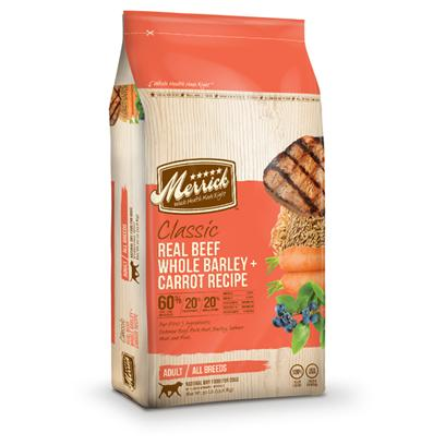 Merrick Presents Merrick Classic Real Beef Whole Barley &amp; Carrot Recipe Adult Dry Dog Food 30lb Bag. Dogs Thrive on Quality Protein and Healthy Fats, which is Why the Merrick Classic Real Beef with Whole Barley &amp; Carrot is Made with High-Quality Protein, Whole Grains, Vegetables and Fruits to Provide a Natural Dog Food Formula Rich in Nutrients to Support the Overall Health of your Dog. Merrick Starts with Real and Wholesome Usda-Inspected Deboned Beef as the First Ingredient with Amino Acids Necessary for Building Muscle and a Healthy Metabolism. Our Protein Rich Merrick Adult Recipe is Balanced with 60% Beef Proteins 20% Fresh Produce and 20% Whole Grains Ingredients. This Food Revolution in the Dog Bowl Yields 30% Protein for Each Meal.Plus we Add Wholesome Grains, Vegetables and Fruits to not Skimp on all the Good Stuff your Dog Needs. We have Added Dha for Healthy Growth; Omega 6 and 3 Fatty Acids, 'Fur Friendly' Nutrients, that Help Support a Beautiful, Shiny Coat. Glucosamine and Chondroitin Help Maintain Joint Health so your Dog can Run and Play. [37344]