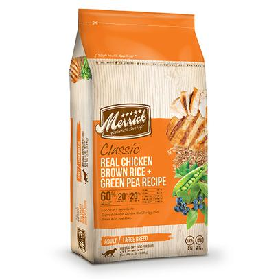 Merrick Presents Merrick Classic Real Chicken Brown Rice and Green Pea Adult Large Breed 15lb Bag. Dogs Thrive on Quality Protein and Healthy Fats, which is Why the Merrick Classic Real Chicken with Brown Rice &amp; Green Pea Dry Dog Food is Made with High Quality Protein, Whole Grains, Vegetables and Fruits to Provide a Natural Dog Food Formula Rich in Nutrients to Support the Overall Health of your Dog. Merrick Starts with Real and Wholesome Usda-Inspected Deboned Chicken as the First Ingredient with Amino Acids Necessary for Building Muscle and a Healthy Metabolism. Our Protein Rich Merrick Adult Large Breed Recipe is Balanced with 60% Poultry and Fish Proteins 20% Fresh Produce and 20% Whole Grains Ingredients. This Food Revolution in the Dog Bowl Yields 30% Protein for Each Meal.Plus we Add Wholesome Grains, Vegetables and Fruits to not Skimp on all the Good Stuff your Dog Needs. We have Added Dha for Healthy Growth; Omega 6 and 3 Fatty Acids, 'Fur Friendly' Nutrients, that Help Support a Beautiful, Shiny Coat. Glucosamine and Chondroitin Help Maintain Joint Health so your Dog can Run and Play. [37350]