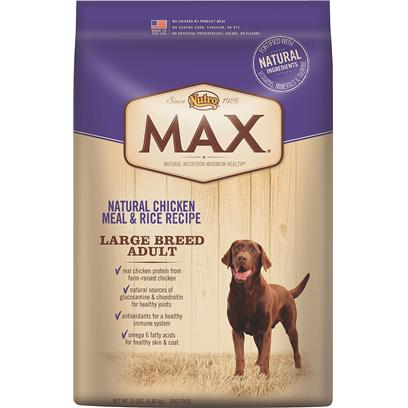 Nutro Presents Nutro Max Natural Chicken Meal &amp; Rice Recipe Large Breed Adult Dog Food 30lb Bag. Max Natural Chicken Meal &amp; Rice Large Breed Adult Dog Food is Formulated for the Specific Needs of a Large Breed Dog, and Made in the Usa Using only the Finest Ingredients that can be Traced Back to their Source  Like Real Chicken Protein from FarmRaised Chickens and Whole Grain Rice and Wheat. And because we only Use the Best Ingredients, You'll Never Find any Chicken byProduct Meal, Ground Corn, Sorghum, Rye or any Artificial Colors, Flavors or Preservatives. We're Committed to Provide Great Tasting, Natural Nutrition so your Dog will Live a Long, Healthy Life. [37397]