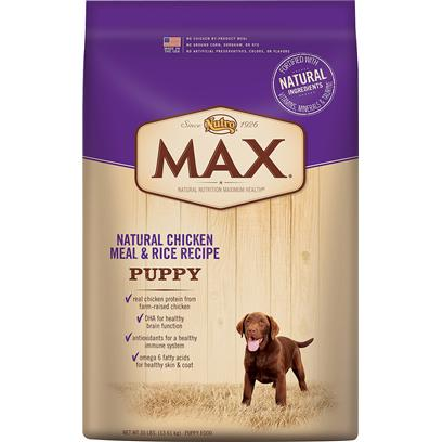 Nutro Presents Nutro Max Natural Chicken Meal &amp; Rice Recipe Puppy Food 15lb Bag. Max Natural Chicken Meal &amp; Rice Puppy Food is Formulated for the Specific Needs of Growing Puppies, and Made in the Usa Using only the Finest Ingredients that can be Traced Back to their Source  Like Real Chicken Protein from FarmRaised Chickens and Whole Grain Rice and Wheat. And because we only Use the Best Ingredients, You'll Never Find any Chicken byProduct Meal, Ground Corn, Sorghum, Rye or any Artificial Colors, Flavors or Preservatives. We're Committed to Provide Great Tasting, Natural Nutrition so your Dog will Live a Long, Healthy Life. [37399]