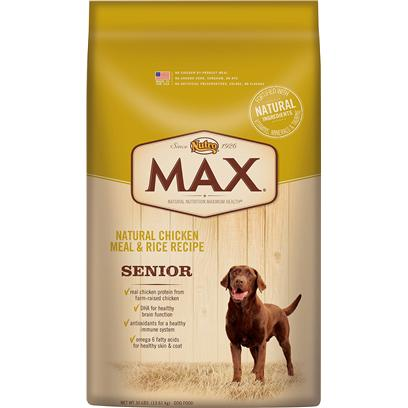 Nutro Presents Nutro Max Natural Chicken Meal &amp; Rice Recipe Senior Dog Food 15lb Bag. Max Natural Chicken Meal &amp; Rice Senior Dog Food is Formulated for the Unique Needs of a Senior Dog, Made in the Usa Using only the Finest Ingredients that can be Traced Back to their Source  Like Real Chicken Protein from FarmRaised Chickens and Whole Grain Rice and Wheat. And because we only Use the Best Ingredients, You'll Never Find any Chicken byProduct Meal, Ground Corn, Sorghum, Rye or any Artificial Colors, Flavors or Preservatives. We're Committed to Provide Great Tasting, Natural Nutrition so your Dog will Live a Long, Healthy Life. [37402]